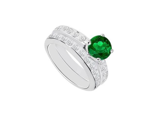 Emerald  Diamond Engagement Ring with Wedding Band Sets 14K White Gold  1.35 CT TGW