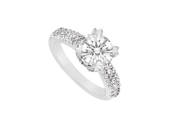 Triple AAA Quality Cubic Zirconia Engagement Ring in 14K White Gold One Carat Total Gem Weight