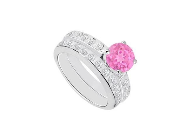 Pink Sapphire  Diamond Engagement Ring with Wedding Band Sets 14K White Gold  1.35 CT TGW