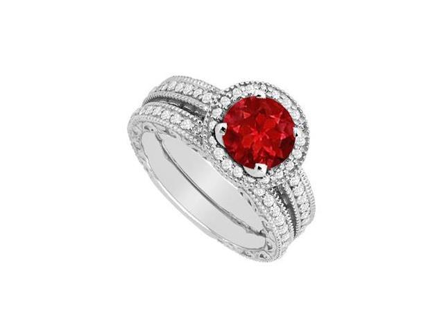 Ruby and Diamond Engagement Ring with Wedding Band Set in 14K White Gold Total Gem of 1.30 Carat