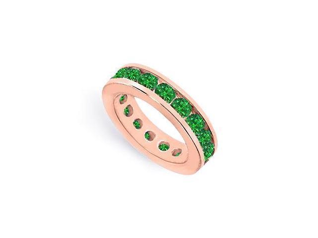 Created Emerald Eternity Wedding Band Channel Set on 14K Rose Gold Vermeil 8CT TGW