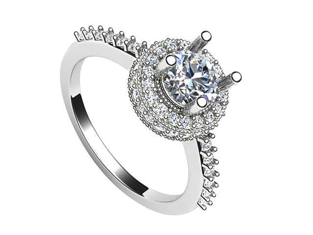 14K White Gold Triple AAA Quality Cubic Zirconia Engagement Ring of 1.50 Carat Total Gem Weight