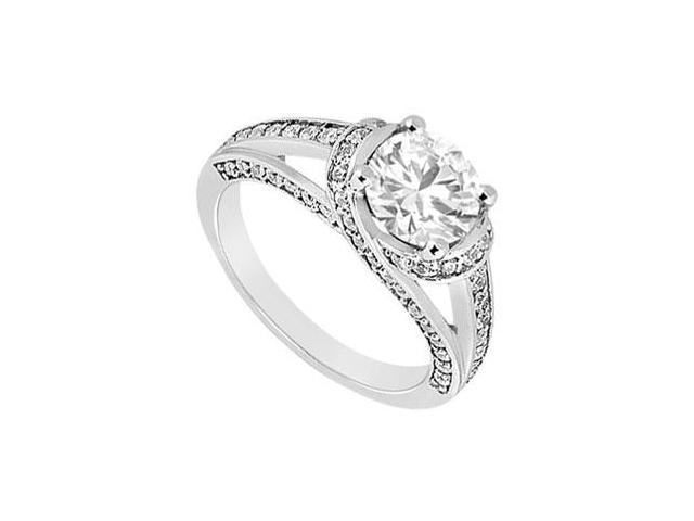 1 Carat Engagement Ring in 14K White Gold with Triple AAA Quality Cubic Zirconia