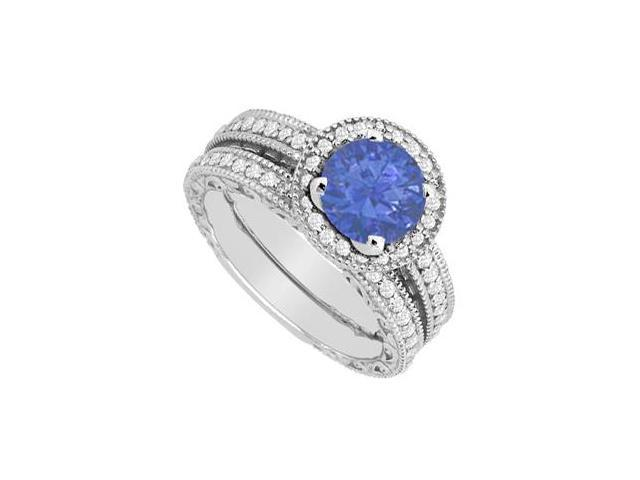 Diamond and Sapphire Engagement Ring with Wedding Band Sets in 14K White Gold 1.30 Carat Weight