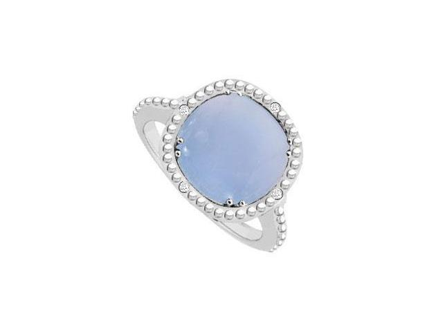 Blue Chalcedony and Diamond Ring 10K White Gold 3.05 CT TGW