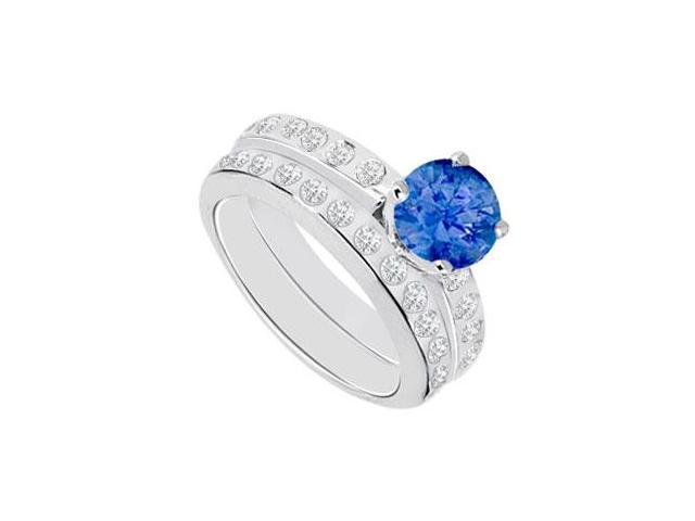Sapphire  Diamond Engagement Ring with Wedding Band Sets 14K White Gold  1.35 CT TGW
