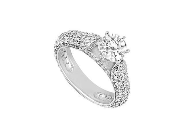 Triple AAA Quality Cubic Zirconia Engagement Ring in 14K White Gold 1.50 Carat Total Gem Weight