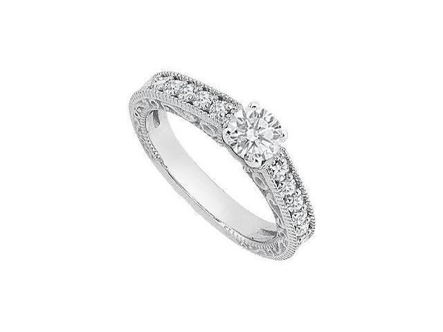 1 Carat Engagement Ring of Triple AAA CZ in 14K White Gold