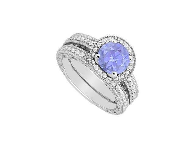 Tanzanite Engagement Ring with Milgrain Diamond Wedding Band Sets 1.30 Carat in 14K White Gold