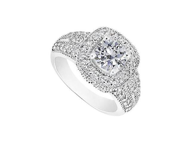 Engagement Ring in 14K White Gold Totaling 1.50 Carat CZ Triple AAA Quality with Milgrain Edges