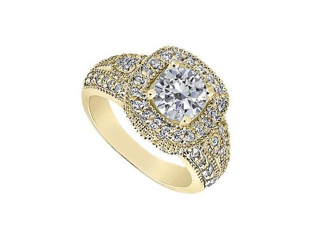 Engagement Ring in 14K Yellow Gold Totaling 1.50 Carat CZ Triple AAA Quality with Milgrain Edge