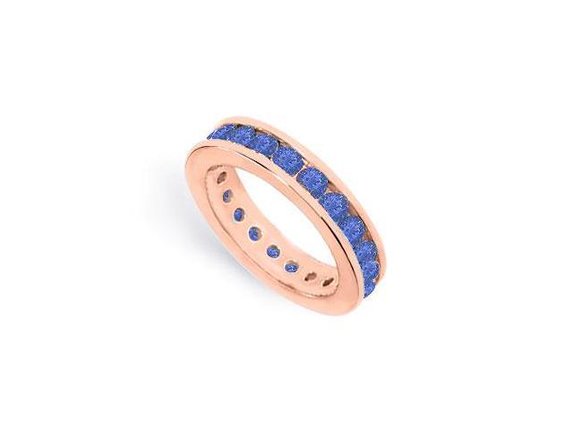 2CT Created Sapphire Eternity Ring Stackable Band Channel Set on 14K Rose Gold Vermeil