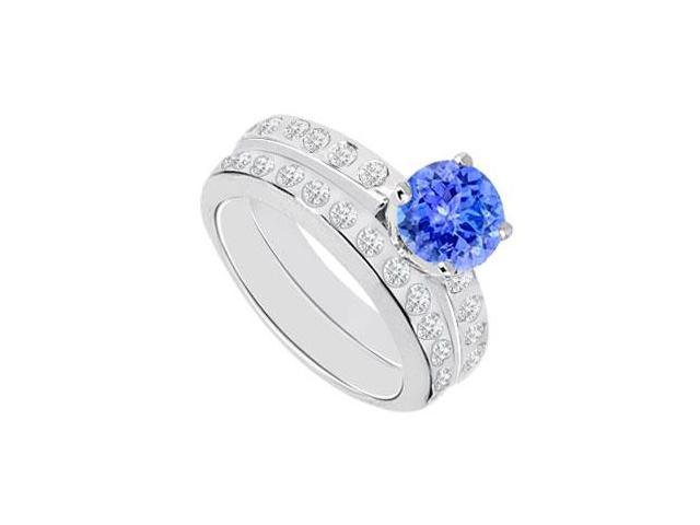 Tanzanite  Diamond Engagement Ring with Wedding Band Sets 14K White Gold  1.35 CT TGW