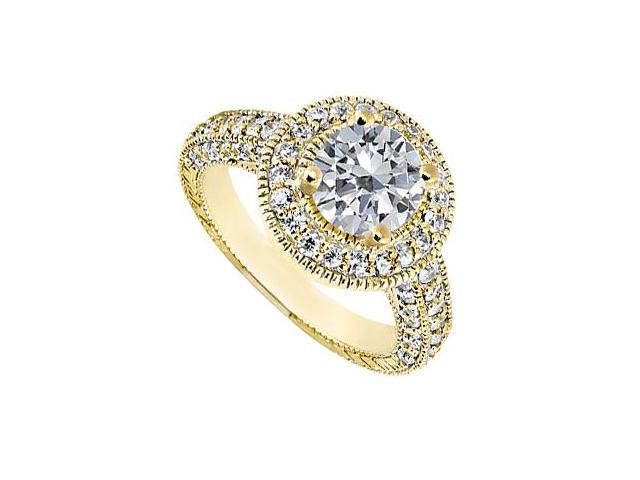 14K Yellow Gold Halo Engagement Ring of Cubic Zirconia Total Gem Weight of 1.50 Carat