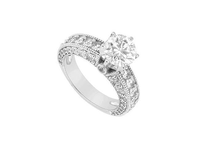 2 Carat Engagement Ring in 14K White Gold Cubic Zirconia Triple AAA Quality