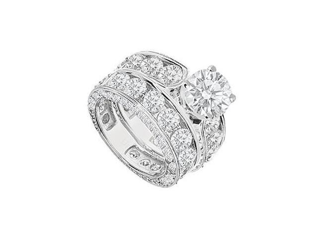 Diamond Engagement Ring with Wedding Band Sets 14K White Gold  8.35 CT TDW