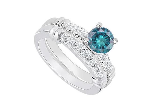 14K White Gold  Blue Diamond Engagement Ring with Wedding Band Set 0.75 CT TDW