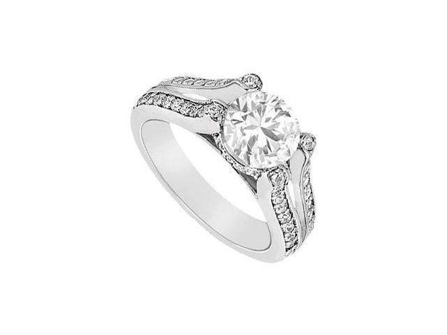 14K White Gold 1 Carat Engagement Ring with Triple AAA Quality Cubic Zirconia