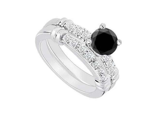 14K White Gold  Black Diamond Engagement Ring with Wedding Band Set 0.75 CT TDW