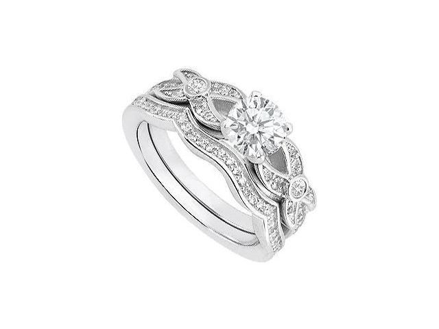 14K White Gold Diamond Engagement Ring and Wedding Band Sets with 0.85 Carat Diamonds