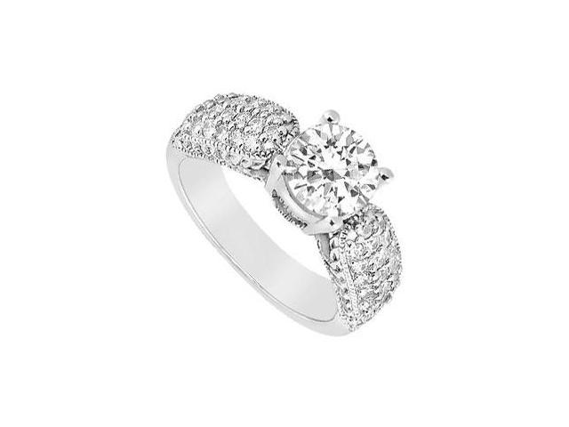 Triple AAA Quality Cubic Zirconia 1 Carat Engagement Ring in 14K White Gold Finish