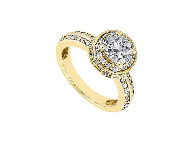 Cubic Zirconia Engagement Ring in 14K Yellow Gold 1 Carat Total Gem Weight