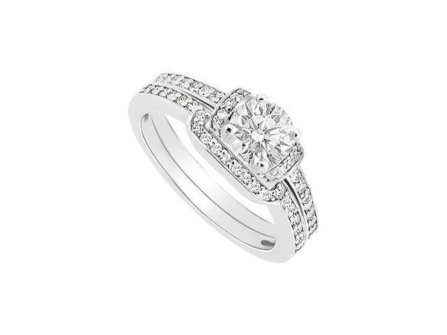 Diamond Engagement Ring with Wedding Band Set  14K White Gold - 0.60 CT Diamonds