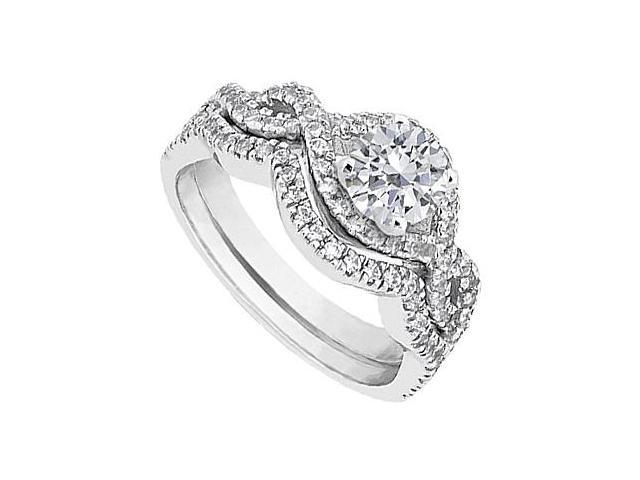 Diamond Engagement Ring with Diamond Wedding Band Sets in 14K White Gold 1.25 Carat TGW