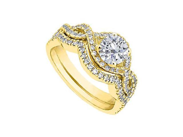 Diamond Engagement Ring with Diamond Wedding Band Sets in 14K Yellow Gold 1.25 Carat TGW