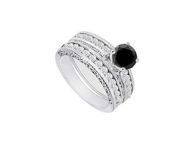 Black  White Diamond Engagement Ring with Wedding Band Sets 14K White Gold  1.00 CT TDW