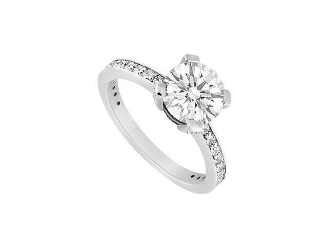 14K White Gold Triple AAA Quality Brilliant Cut Cubic Zirconia One Carat Engagement Ring