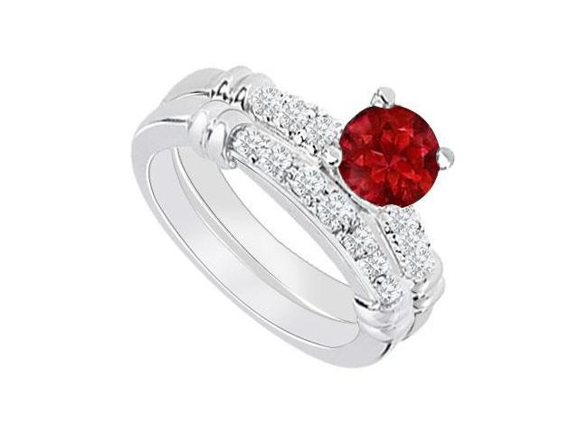 14K White Gold  Ruby and Diamond Engagement Ring with Wedding Band Set 0.75 CT TGW