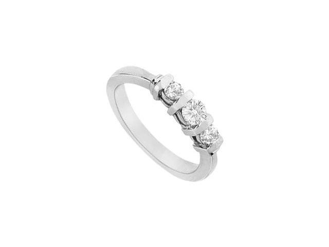 Three Stone Engagement Ring of Triple AAA Quality CZ in 14K White Gold 1 Carat Total Gem Weight
