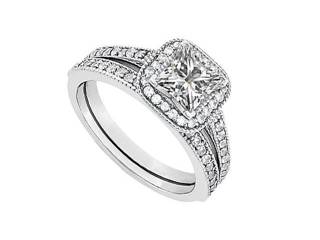 14K White Gold CZ Engagement Ring with Wedding Band Sets 1.10 Carat Total Gem Weight