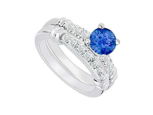 14K White Gold  Sapphire and Diamond Engagement Ring with Wedding Band Set 0.75 CT TGW