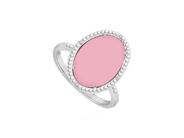 10K White Gold Pink Chalcedony and Diamond Ring 15.08 CT TGW