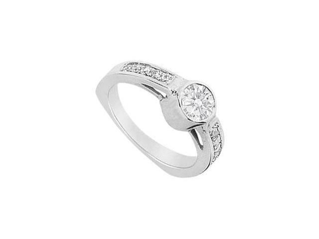 Engagement Ring in 14K White Gold Triple AAA Quality CZ of 1.25 Carat Total Gem Weight