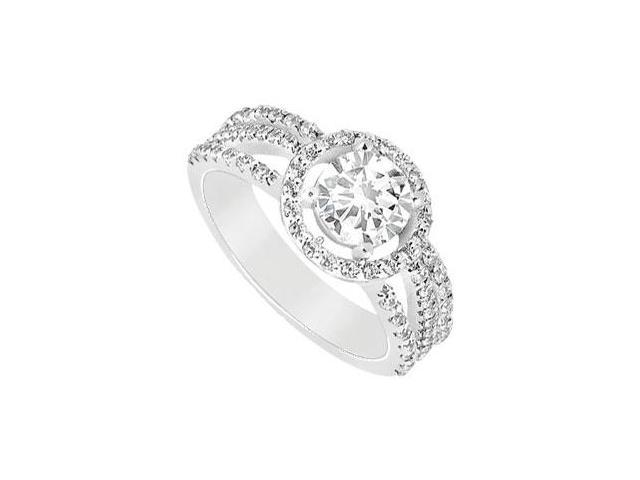 14K white Gold Triple AAA Quality Cubic Zirconia Engagement Ring of 1.25 Carat Total Gem Weight