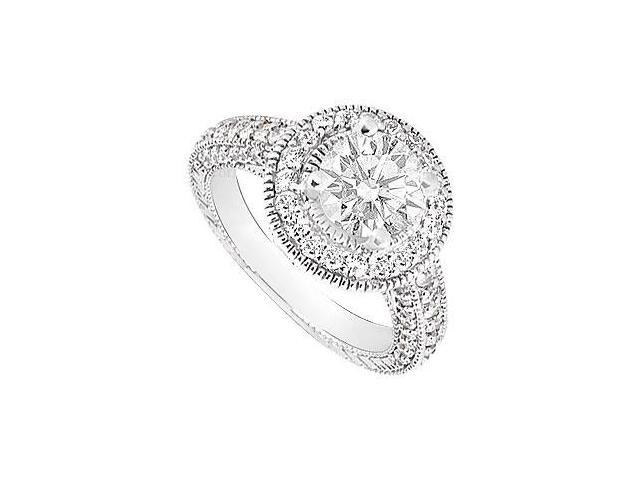 Cubic Zirconia Halo Engagement Ring 14K White Gold 3.50 CT TGW