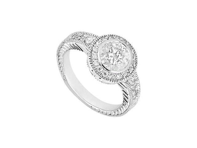 1 Carat Engagement Ring in 14K White Gold Triple AAA Quality CZ in Bezel Setting