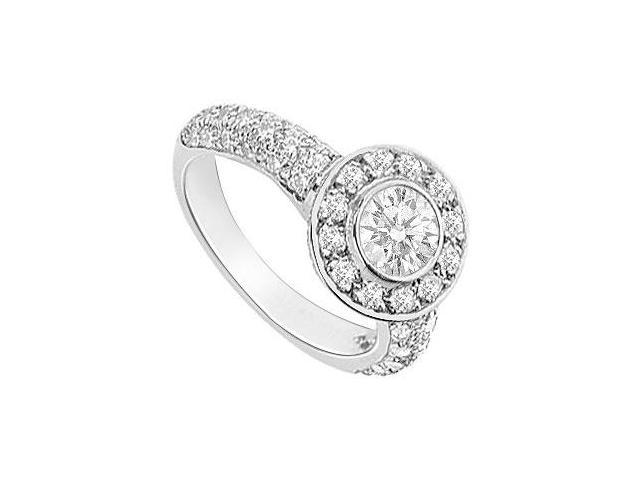 Cubic Zirconia Halo Engagement Ring 14K White Gold 2.15 CT TGW