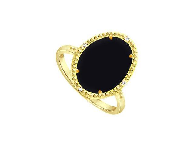 Pure Black Onyx Ring and Cubic Zirconia in Sterling Silver Overlay18K Yellow Gold 15.08 CT TGW