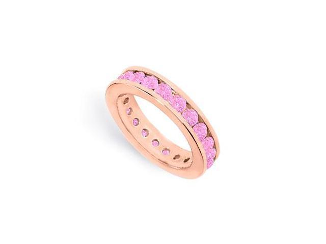 2ct Created Pink Sapphire Eternity Ring Stackable Band on 14K Rose Gold Vermeil with Channel Set
