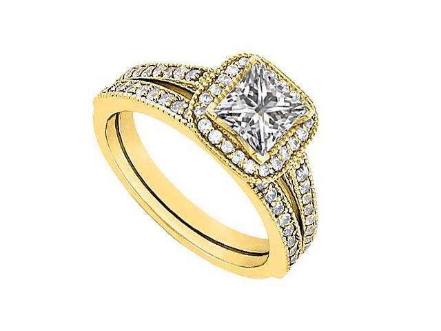 14K Yellow Gold CZ Engagement Ring with Wedding Band Sets 1.10 Carat Total Gem Weight