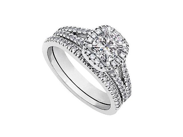14K White Gold CZ Engagement Ring with Wedding Band Sets Total Gem Weight 1.20 Carat