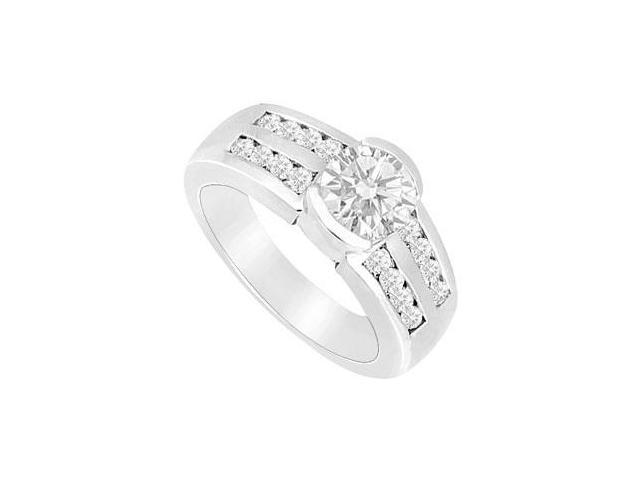 Engagement Ring of Triple AAA Quality CZ in 14K White Gold 1 Carat Total Gem Weight