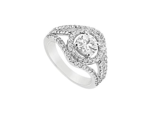 Engagement Ring in 14K White Gold Cubic Zirconia of 1.25 Carat Total Gem Weight