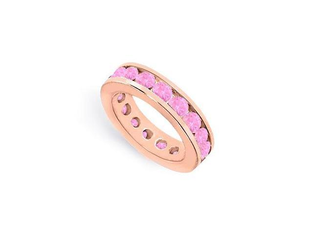 Eternity Ring Stackable Band Channel Set Created Pink Sapphire on 14K Rose Gold Vermeil 6ct tgw