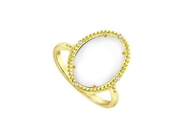 White Agate and Cubic Zirconia 15.08 ct Ring in Rhodium Treated Silver Overlay 18K Yellow Gold