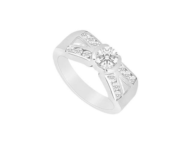 Cubic Zirconia Engagement Ring in 14K White Gold Triple AAA Quality of 1 Carat Total Gem Weight